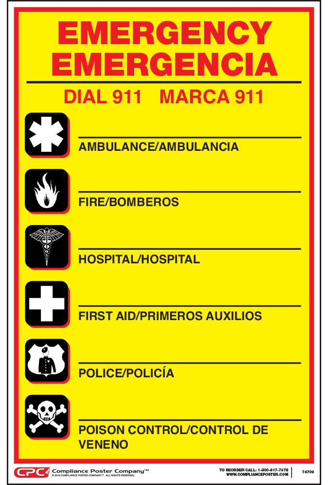 Federal Bilingual Emergency Number Poster