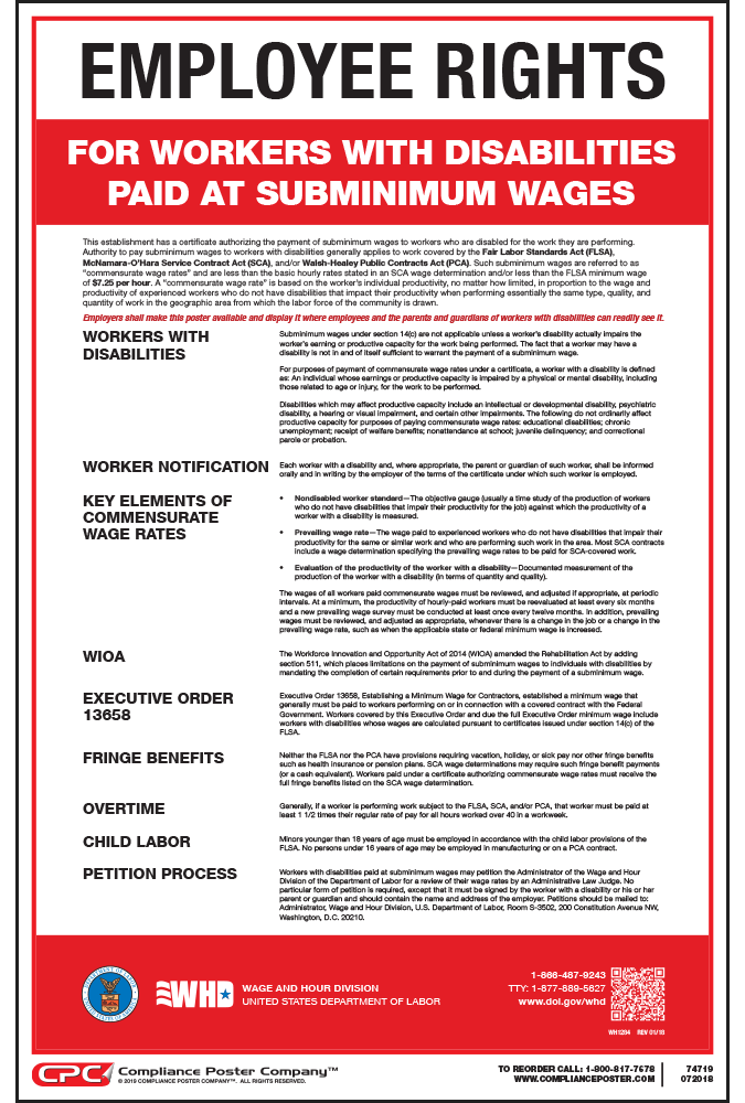 Federal Notice to Workers with Disabilities Poster