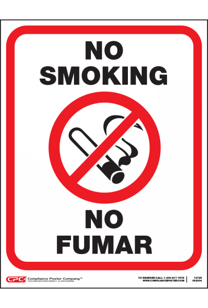 Small No Smoking Poster - Bilingual - 8.5 x 11