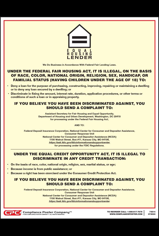 Equal Housing Lender Poster