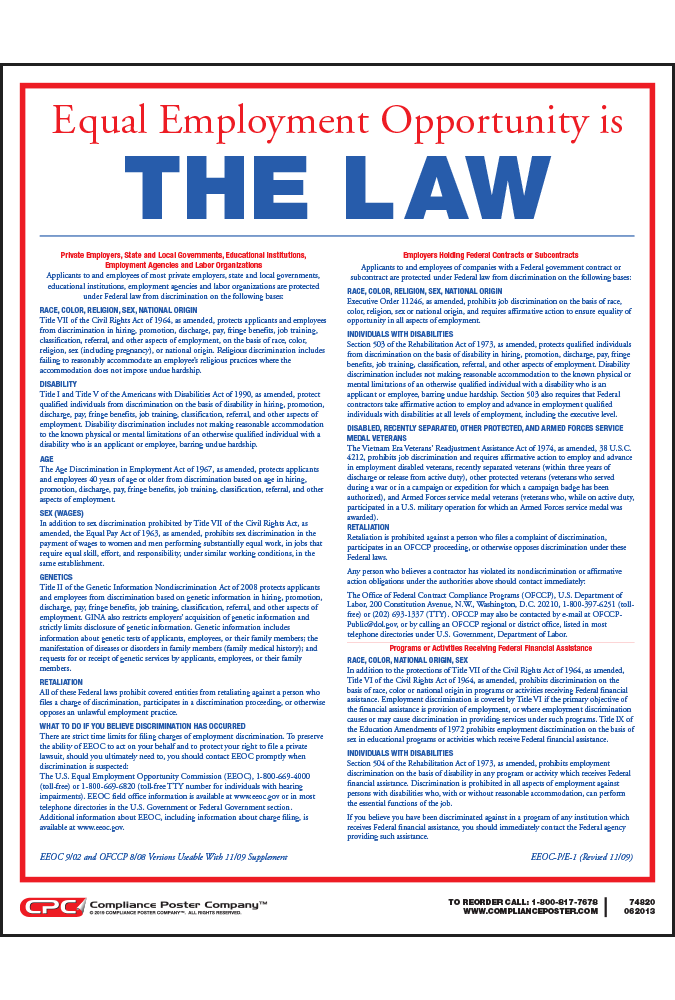 Equal Employment Opportunity Archives - Compliance Poster