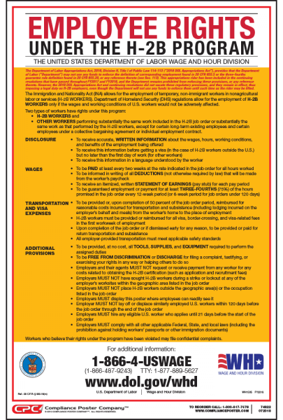 Employee Rights Under H-2B Poster - English