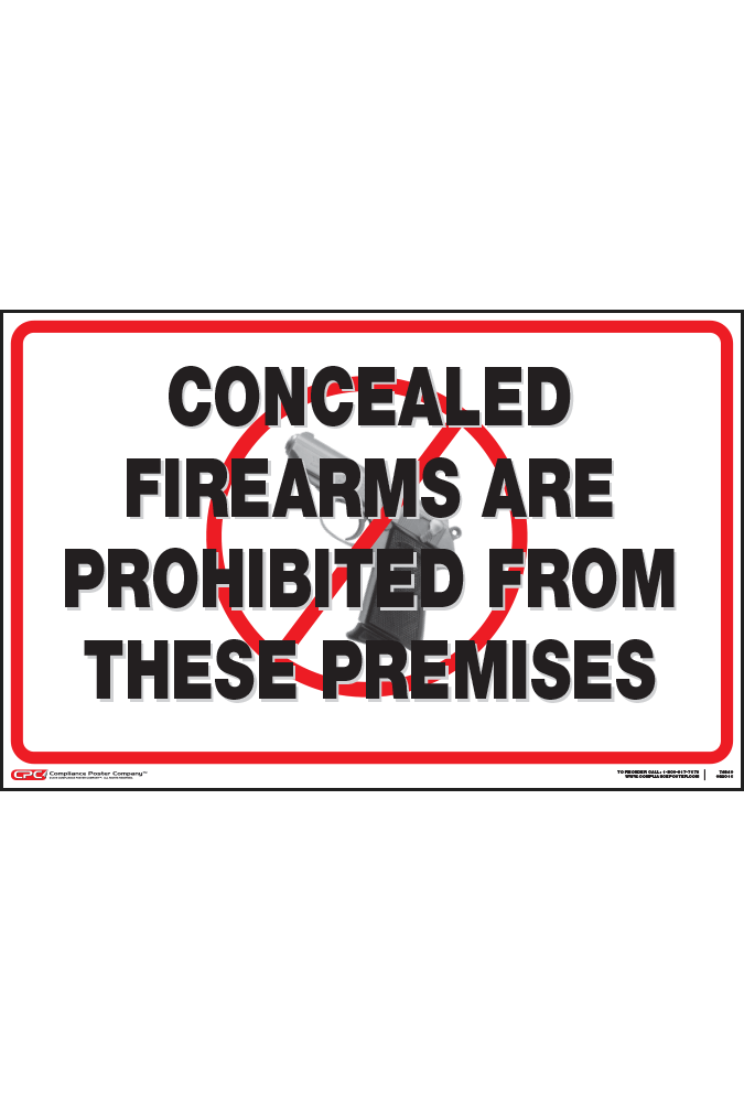 Federal No Concealed Firearms Poster