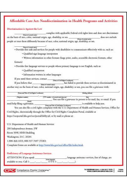 Affordable Care Act Nondiscrimination Notice