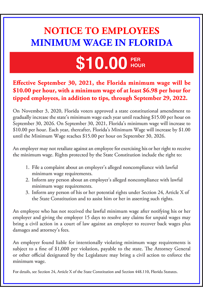 2019 Florida Minimum Wage Peel 'N Post - Mobile