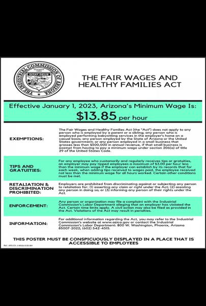 2019 Arizona Minimum Wage Peel 'N Post