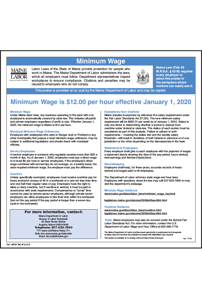 2019 Maine Minimum Wage Poster - Peel 'N Post