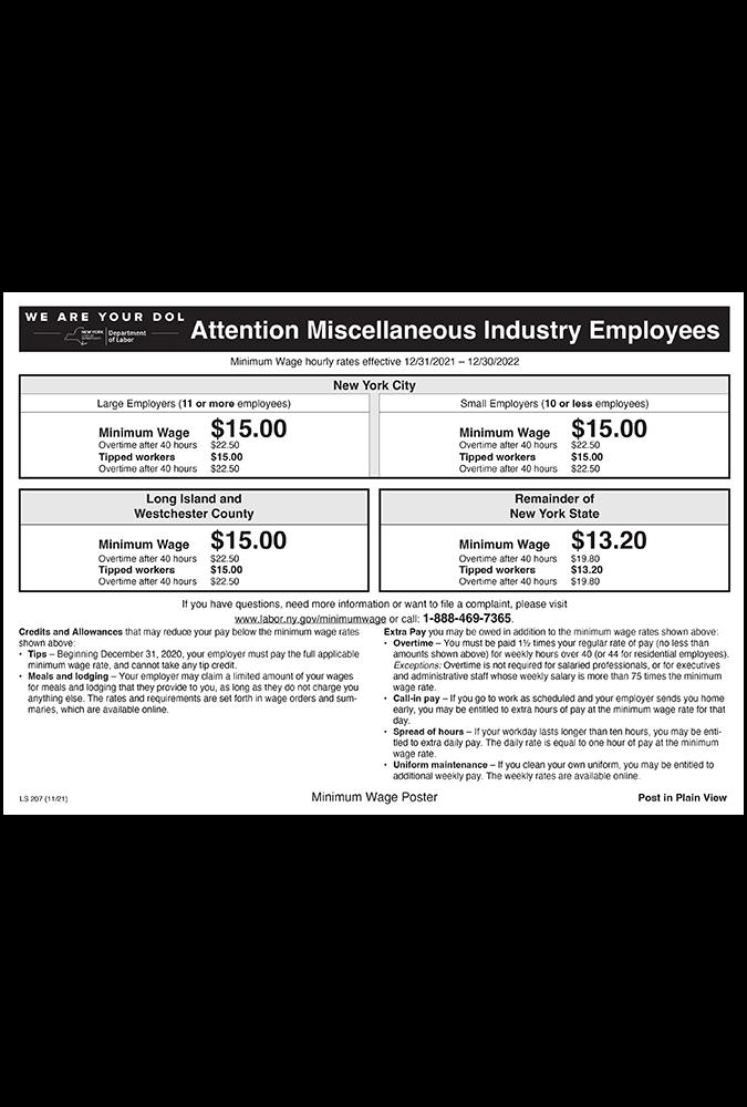 New York Minimum Wage 2019 2019 New York Minimum Wage Poster | Peel' N Post $9.95