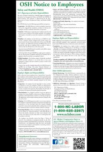 2016 North Carolina OSH Notice Peel 'N Post