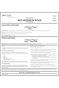 2019 Ohio Minimum Wage Poster - Peel 'N Post for English Poster