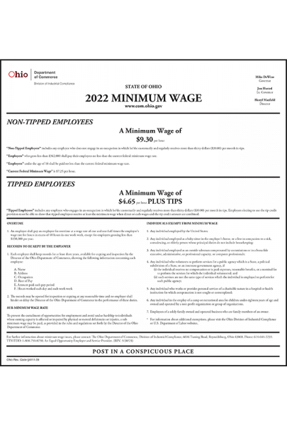 Ohio 2021 Minimum Wage Poster - Peel 'N Post for English Poster