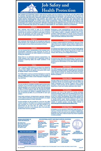 2019 Virginia Job Safety and Health Protection Poster Peel 'N Post