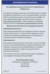 2018 South Carolina Unemployment Insurance Poster Peel' N Post