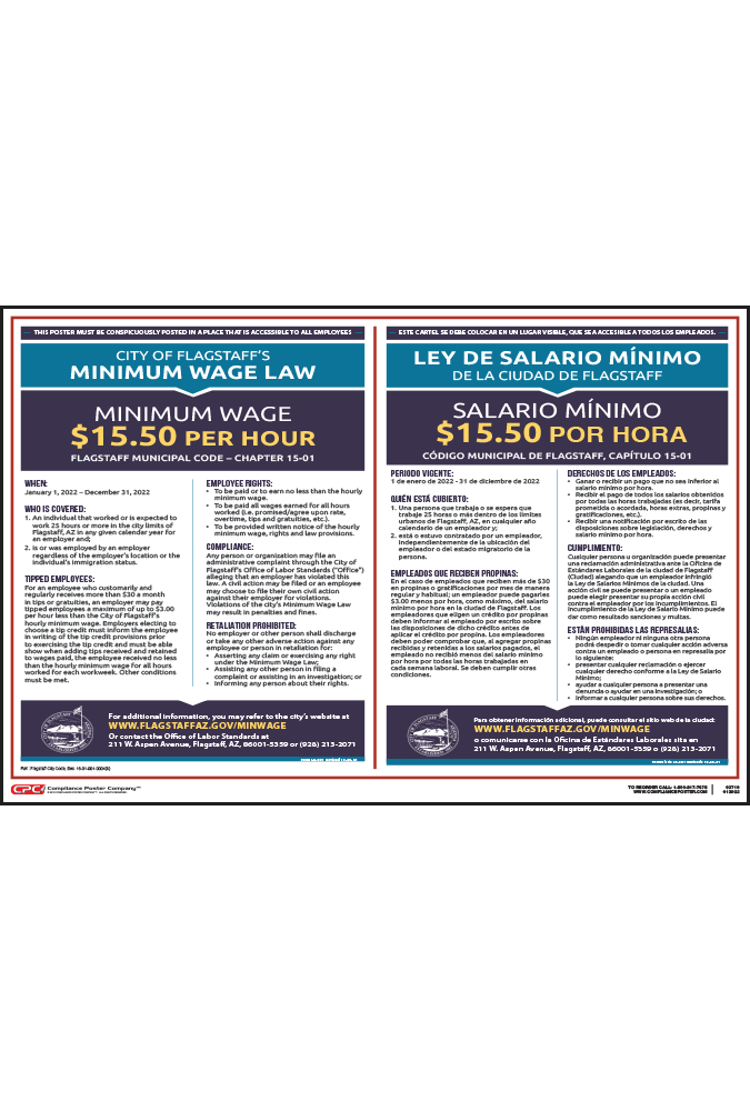 2018 Flagstaff Minimum Wage Poster - Bilingual