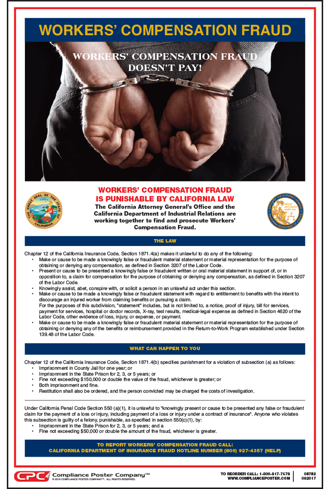 New California Workers' Compensation Fraud Poster