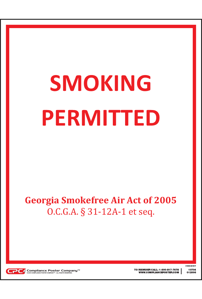 Georgia Smoking Permitted Poster