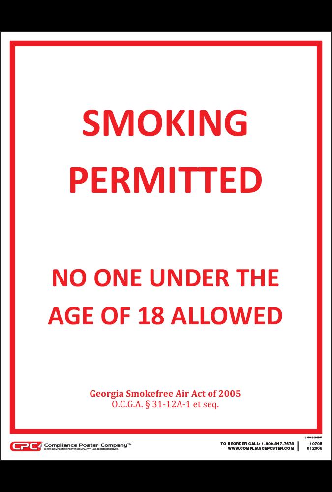 Georgia Smoking Permitted 18+ Poster