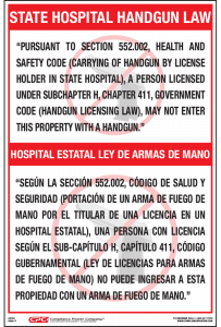 Texas Bilingual State Hospital Handgun Poster
