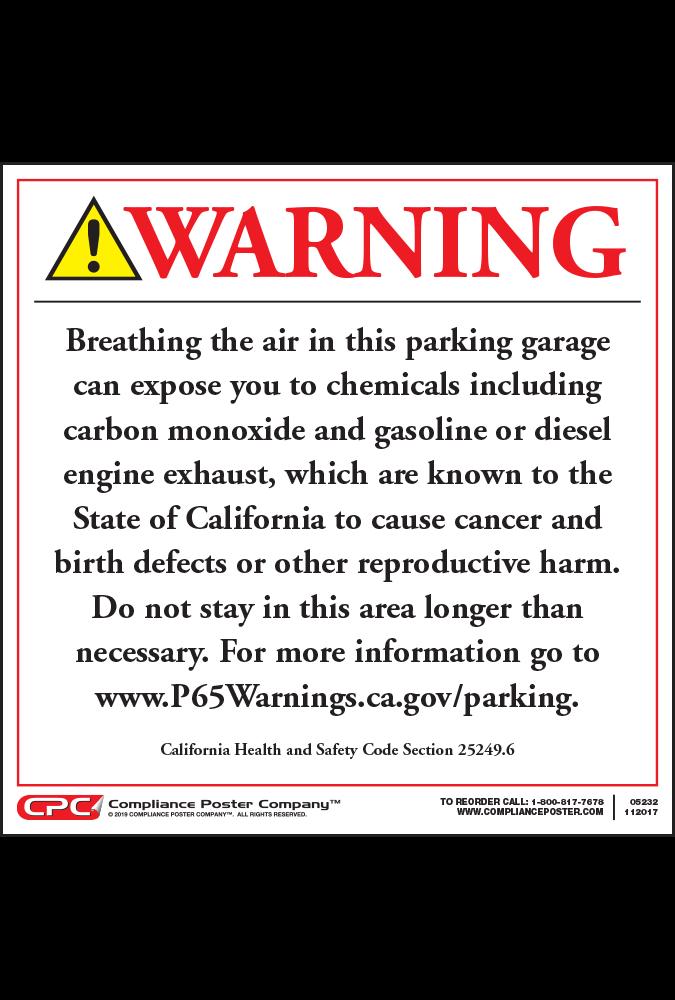 California Prop 65 Enclosed Parking Facility Exposure Warning Signs