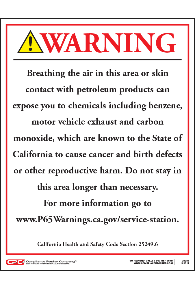 e831980b3176f7 California Prop 65 Service Station Exposure Warning Sign - English