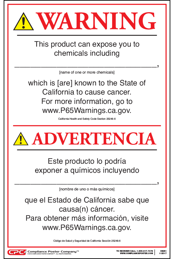 California Prop 65 Consumer Product Cancer Warning Sign