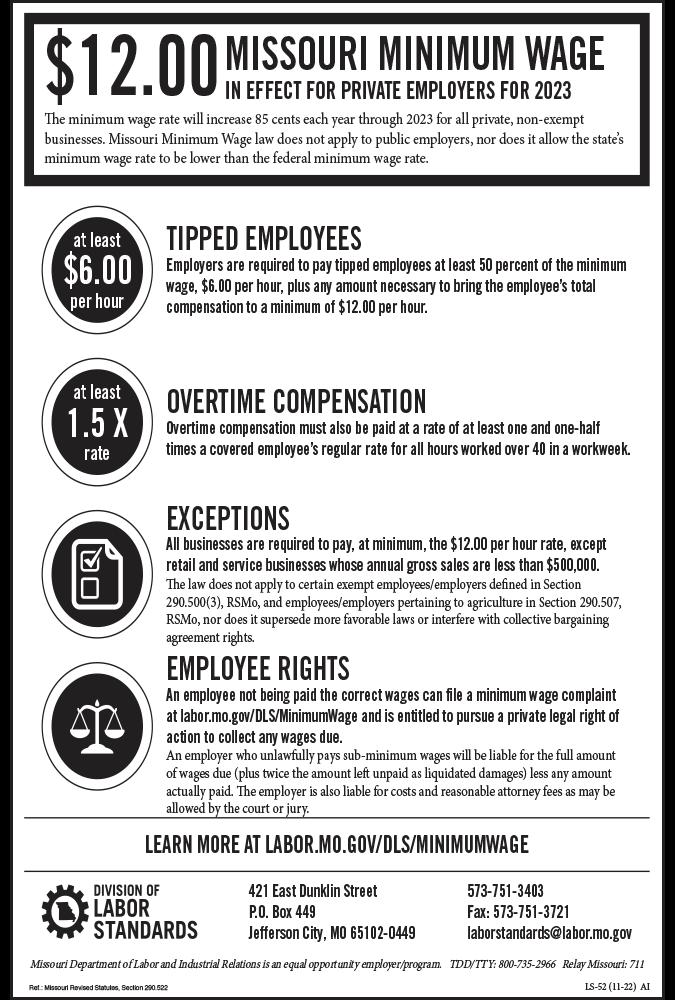 2019 Missouri Minimum Wage Peel 'N Post