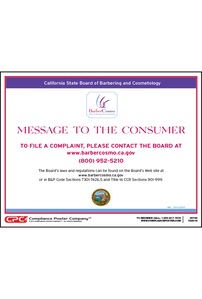 California Barbering and Cosmetology Message to Consumer Poster
