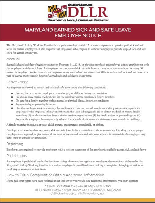 Maryland Releases New Required Workplace Postings