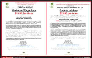 Palo Alto 2018 Minimum Wage Poster