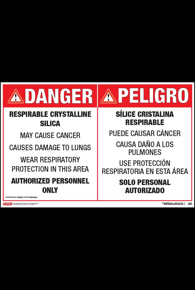 Respirable Crystalline Silica Entrance Danger Sign