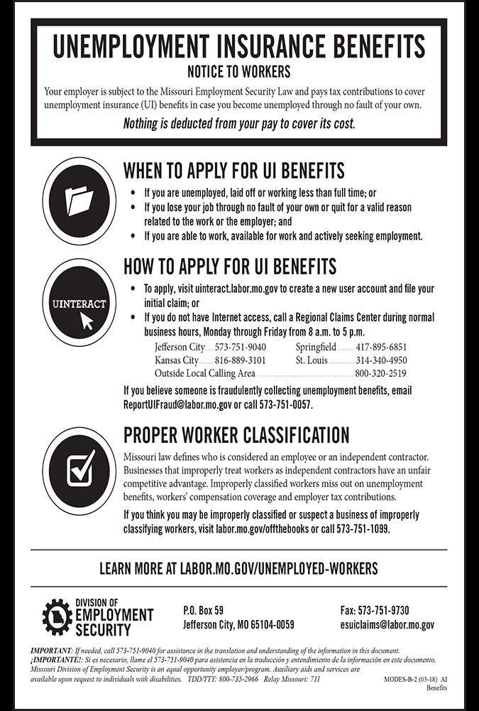 2018 Missouri Unemployment Insurance Peel 'N Post