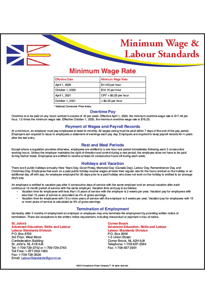 Newfoundland & Labrador 2018 Minimum Wage Peel 'N Post™