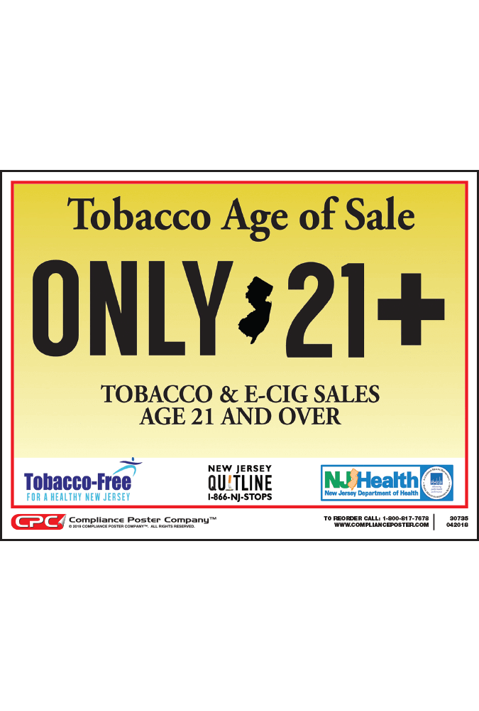 New Jersey Tobacco Age of Sale Poster