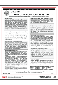 Oregon Employee Work Schedules Poster