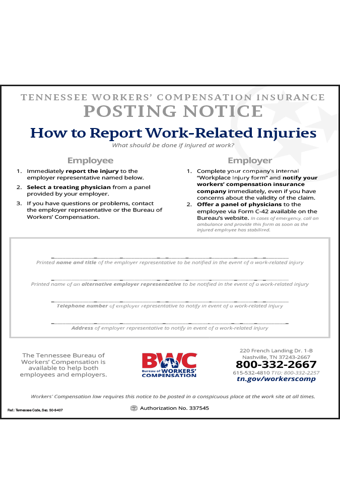 2018 Tennessee Workers Compensation Notice Peel 'N Post