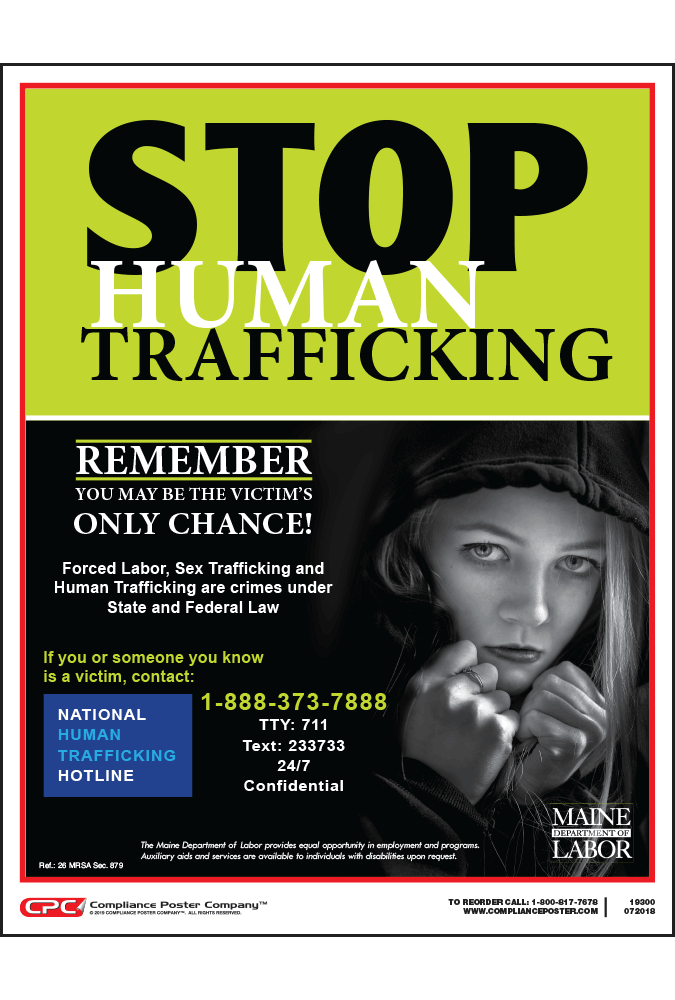 Maine Human Trafficking Poster