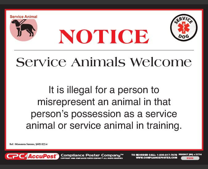 Minnesota Service Animal Sign