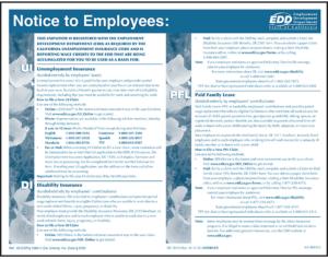 California UI DI PFL Notice to Employees