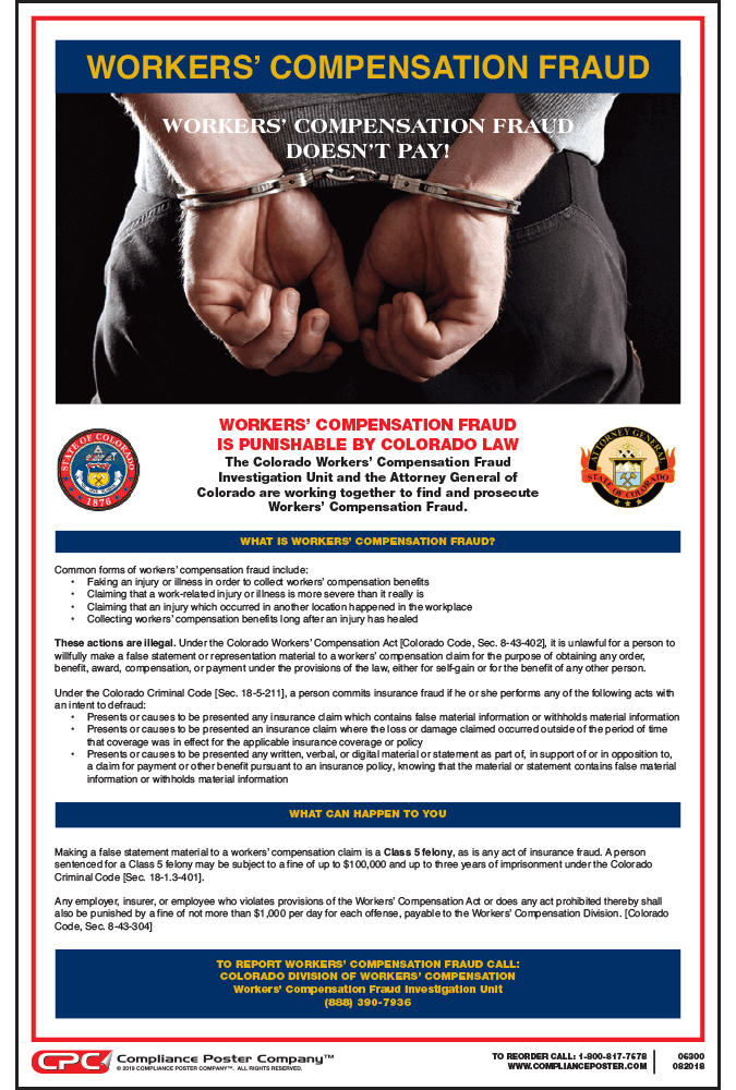 Colorado Workers' Compensation Fraud Poster