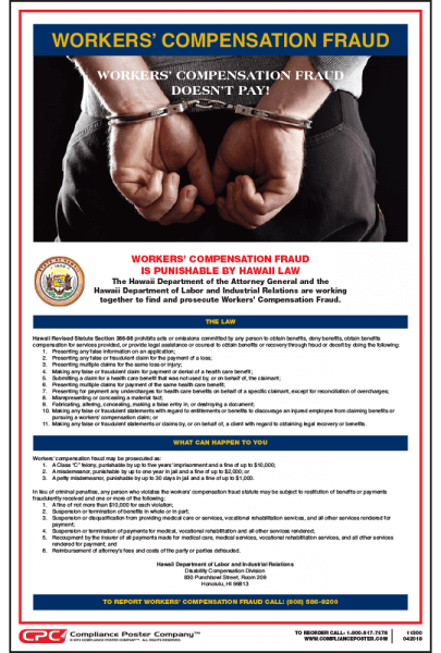 Hawaii Workers' Compensation Fraud Poster