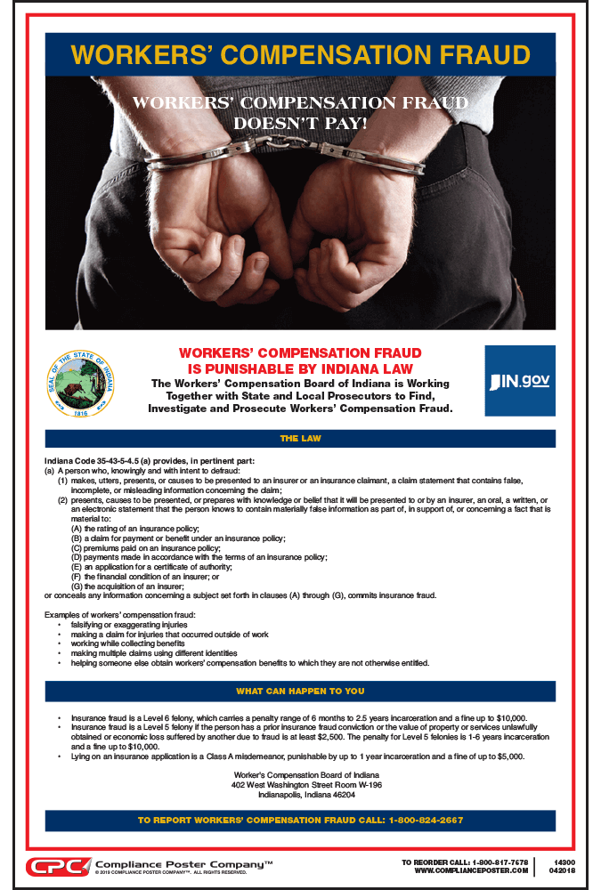 Indiana Workers' Compensation Fraud Poster
