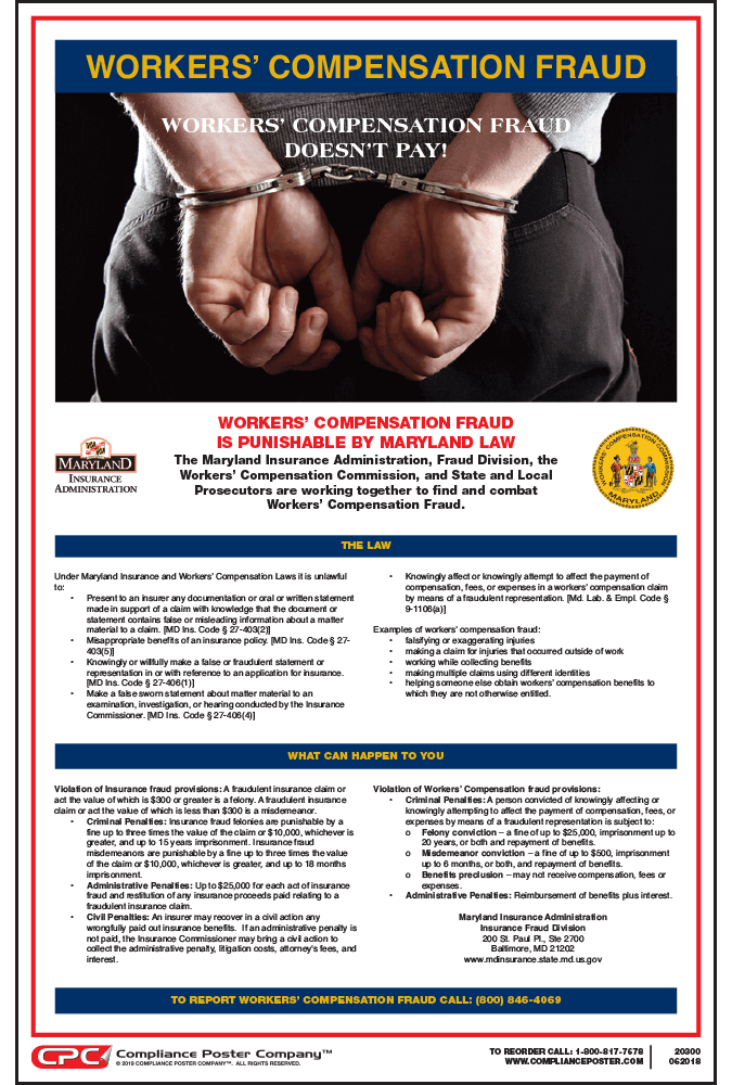 Maryland Workers' Compensation Fraud Poster