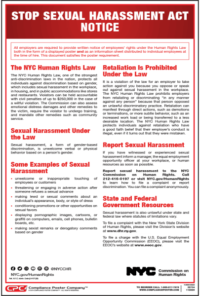 New York City Stop Sexual Harassment Act Poster