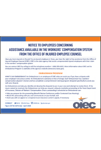 Texas 2018 OIEC Ombudsman Program Notice