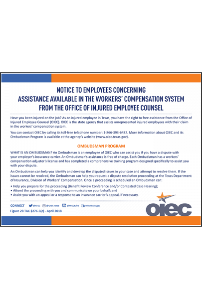 Texas 2018 OIEC Ombudsman Program Notice