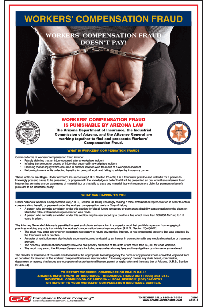 Arizona Workers' Compensation Fraud Poster
