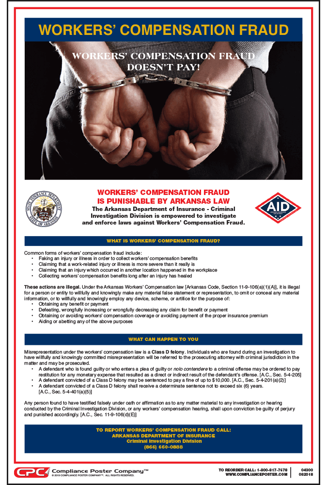 Arkansas Workers' Compensation Fraud Poster
