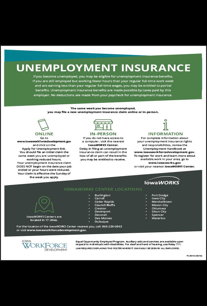 2018 Iowa Unemployment Insurance Peel 'N Post English