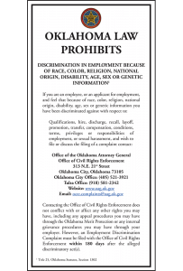 Oklahoma Law Prohibits Discrimination Poster Peel 'N Post