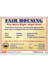 West Virginia Fair Housing Poster